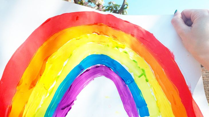A child's painting of a rainbow