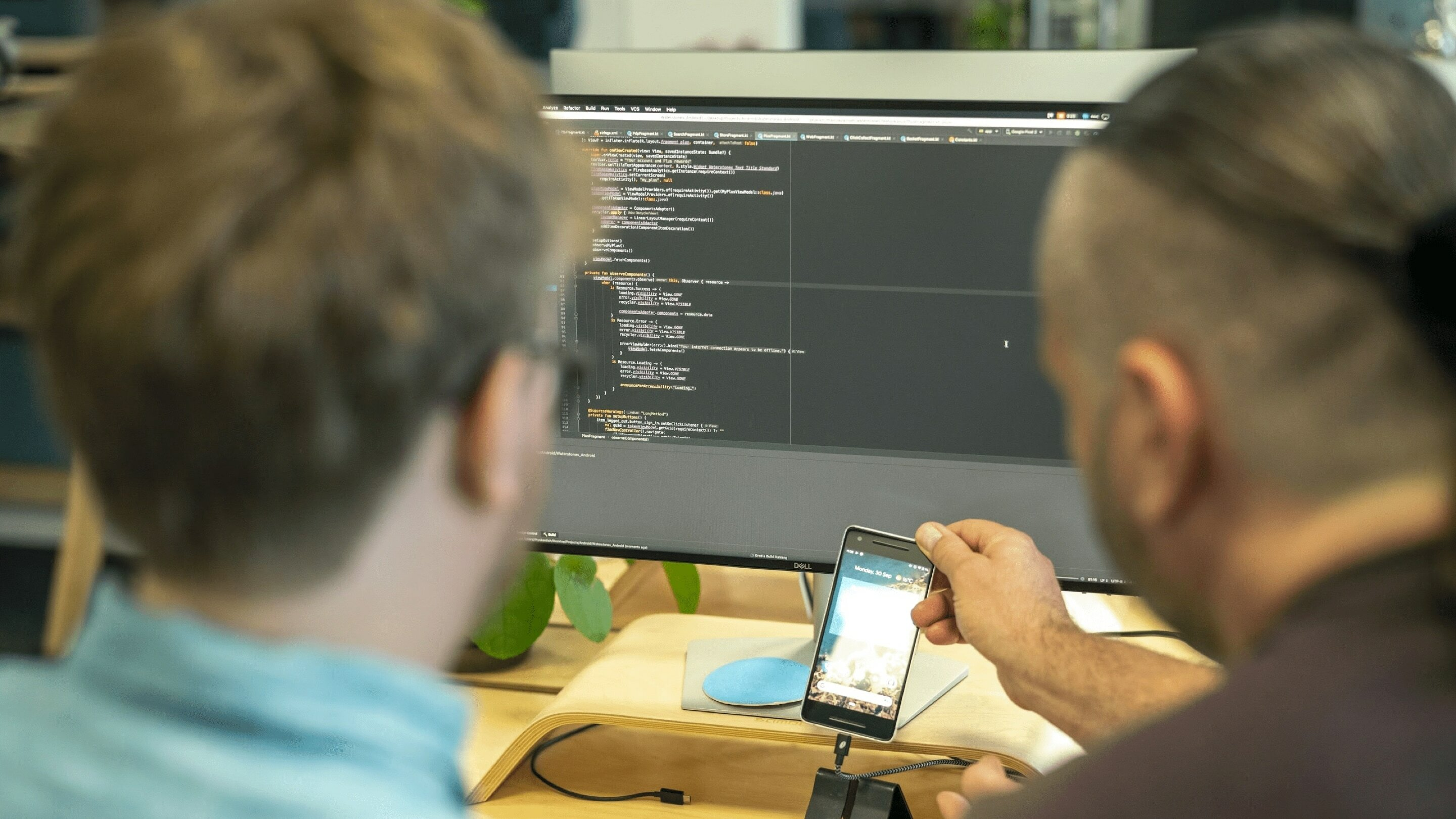 Steve and Rhys working on an app