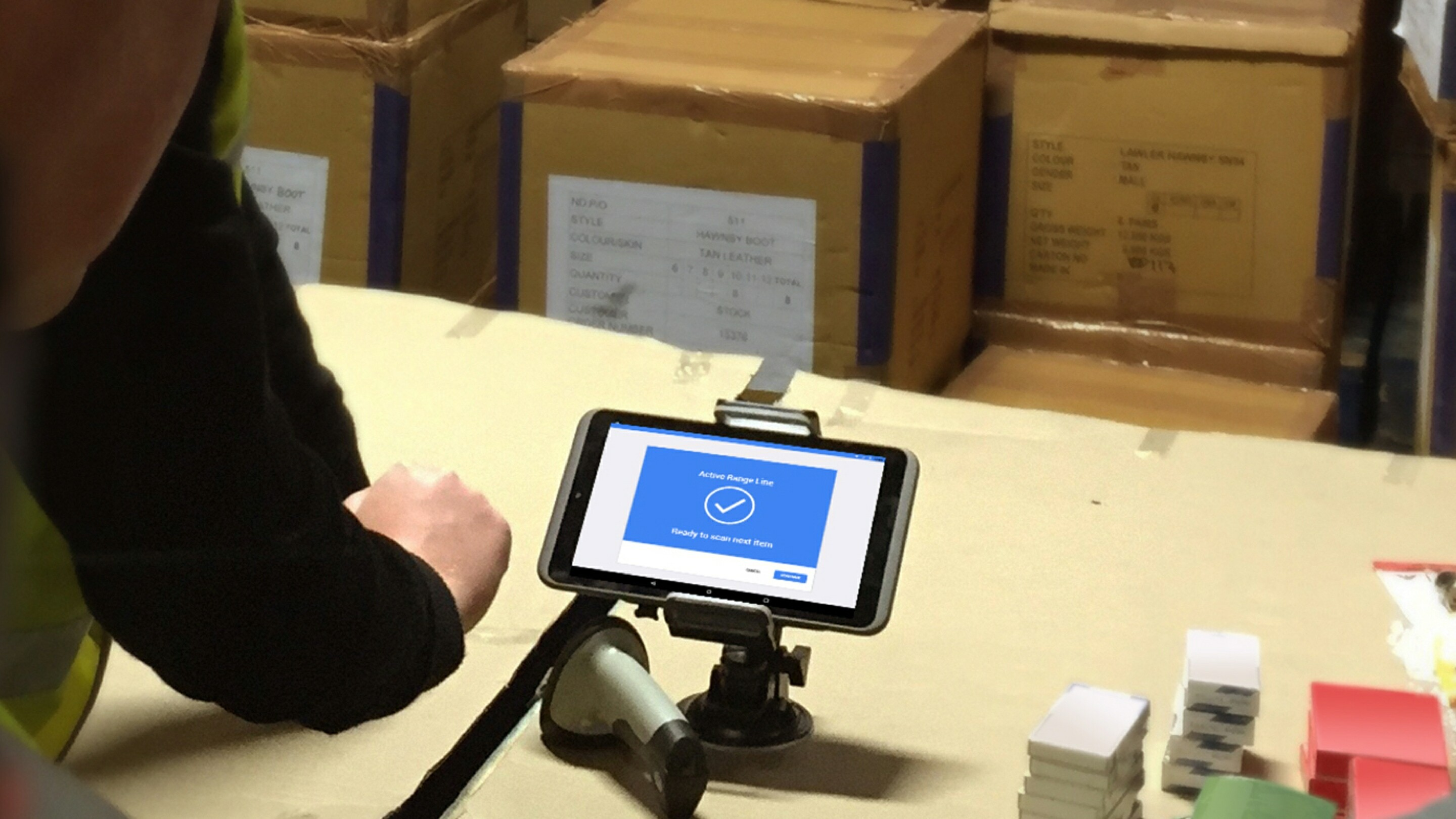 Warehouse photo of barcode scanning app